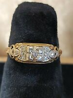 Antique 1925 Art Deco14K-18K 2 Tone Gold .05CW Diamond Ring Sz 6.5 Floral Design