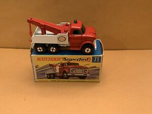 "Matchbox Superfast No. 71 Wreck Truck Green Windows ""Esso"" Side Labels With Box"