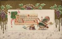 Antique Postcard 'A Happy Thanksgiving Day'  Flock Turkeys  Gold Medal Midland