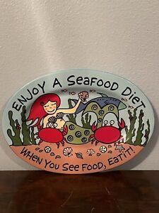 """""""Enjoy A Seafood Diet.."""" Ceramic Painted Mermaid Serving Platte"""