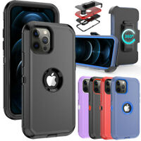 For iPhone 12 Case/ iPhone 12 Pro Max Case, Hybrid Armor Stand Belt Clip Holster