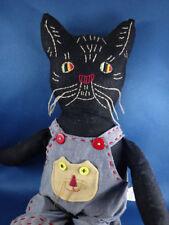 "PRIMITIVE folk art stitched cloth BLACK COUNTRY CAT RAG DOLL overalls 16"""