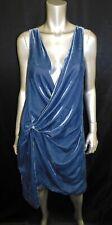 KENNETH COLE NEW YORK NWT Blue Crushed Velvet Plunging V-Neck Dress sz 4 $155
