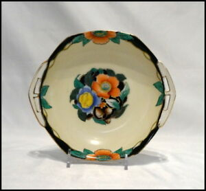 Noritake Art Deco Small Two Handle Bowl Floral Design Gold Trim N336