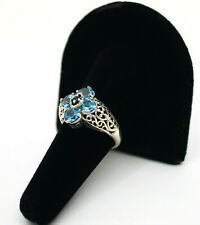 #9339 -CNA Estate VTG Sterling Filigree Bright Topaz & Sapphire Flower Ring Sz 8