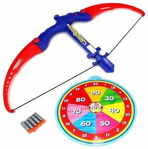 "20"" Kids Toy Bow & Arrow Athletics Paper Target 5 Shot Sport Practice Fun Game"