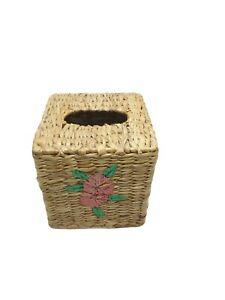 Square Seagrass Straw Woven Facial Tissue Box Cover Hibiscus Tropical
