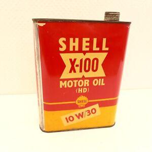 MOTOR - OIL BLECHDOSE SCHELL X-100 FÜR OLDTIMER SAMMLER