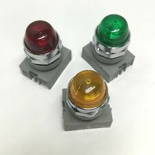 Lot of 3 Idec APW299 Dome Pilot Indicator Lights Green, Red and Amber 120VAC