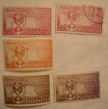 Indonesia Stamp Set 1958 Scott 457 - 459 Badminton