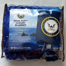 United States Navy Faux Fur Luxury Blanket Regal Comfort - Twin Size