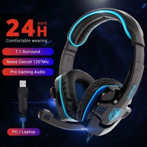 Wired Headphone Dynamic Noise Cancelling Microphone USB Gaming Headset Earphone