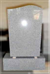 Grabstein + Sockel, Granit, China Grau, 60x40x10cm+50x15x18cm, NEU!!!
