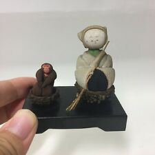 6cm Kokeshi monkey and cloth doll  Japan Antique No.A尼74