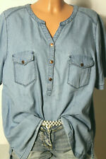ULLA POPKEN Bluse Gr. 42-44 blau Baumwolle Kurzarm Jeans Bluse/Tunika
