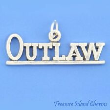 """""""OUTLAW"""" BIKER MOTORCYCLE .925 Solid Sterling Silver Charm"""