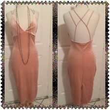 Womens Blush Velvet Lattice Back Dress, Sz XL