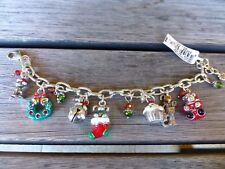 BRIGHTON NWT HOLLY CHRISTMAS Charm Bracelet Bear Puppy Kitten Cupcake MSRP $98
