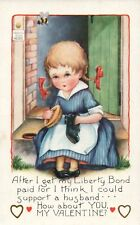 Little Girl With Braids Polishing and Washing Shoes Whittney Valentines Postcard
