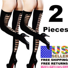 2 Women Stockings Lace Thigh-High Top Fashion Pantyhose Up Hold Socks Net Tights