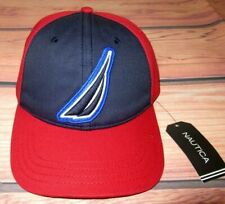 MENS NAUTICA ICONIC LOGO RED BLUE HAT ADJUSTABLE CAP ONE SIZE