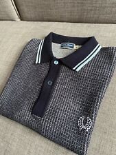 "Fred Perry Texture Knitted 60s Reissues Blue Polo Shirt 38"" M Mod Ska Skins"