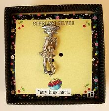 Mary Engelbreit Sterling Silver Pin Girl Striped Socks Vintage 1990s New in Box