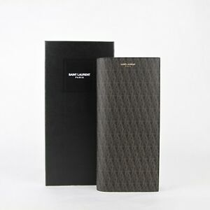 Saint-Laurent Paris Black/brown Canvas Wallet w/a Slip Pocket Holder 361321 1059
