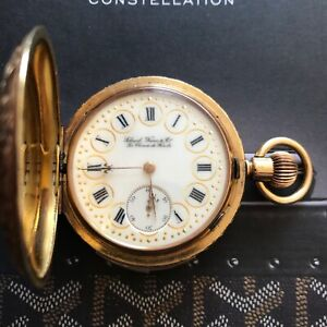 18K YELLOW GOLD MINUTE REPEATER HANDCRAFTED SCHWOB FRÉRES & Co. POCKET WATCH