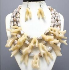Plastic Ivory Cream Sea Branch CoRal Multi Layered Bead Necklace Earring Set