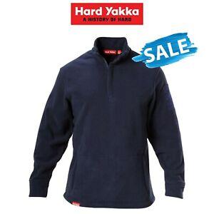 SALE Hard Yakka Foundations Plain Polar Fleece 1/4 Zip Jumper Winter Warm Y19315