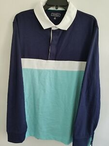 Club Room Mens XL Multi Colorblock Covered Placket Rugby Long Sleeve Polo Shirt