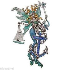 New Kirks Folly Sailors Fairy Siren Mermaid Pin/Enhancer Silvertone Big & Bold