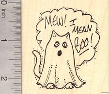 Halloween Mew Boo Cat ghost Rubber Stamp WM H7402