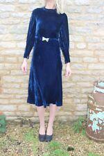 Vintage Rare Early 30s Bias Cut Blue Silk Velvet Dress Belt Perfect Condition 8