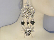 Earrings - Black Onyx, Spider, Web & 925 Sterling Silver-long Gothic chandeliers