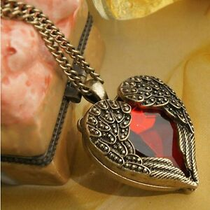 Women Retro Red CZ Heart Angel Wing  Pendant Long Chain Necklace Fashion Jewelry