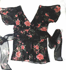 Dark Brown Chiffon Floral Print Top Size XS Party Chic Boho Classic