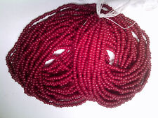 VTG 1 HANK RED RAINBOW IRIS MATTE GLASS BEADS 11//0 #011219w