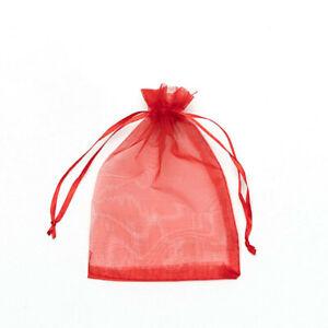 20pcs Red Drawstring Organza Bags Packaging Wedding Party Gift 7x9cm