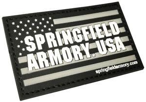 "Springfield Armory Flag Black PVC Patch w/Hook-Back Adhesion 2 3/4"" x 3"""