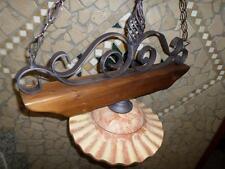 Lampadario sospensione Rustico Country ferro battuto e legno massello terracotta