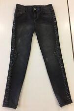 Ladies Zara Denim Rules Black Distressed Studded Jeans Size Uk 12