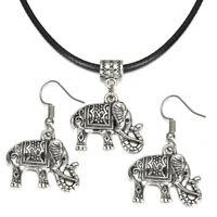 Tibet Silver Elephant Pendant Necklace Earring Hook Statement Charm Jewelry Set