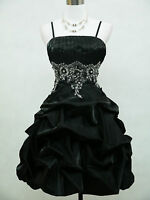 Cherlone Satin Black Sparkle Prom Cocktail Party Ball Evening Dress Size 16-18