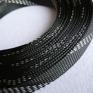 Ø3~25mm Black-Silver Braided Sleeving Cable Harness Sheathing Expandable Densely