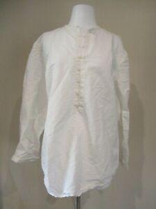 J PETERMAN white linen cotton band collar 1/2 down  shirt top blouse sz M