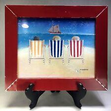 "Beach Chairs Sailboat Framed Print M. WISCOMBE 17.5"" x 14.5"" Coastal Art Vtg"