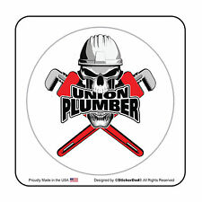 "UNION PLUMBER Circle (2 Pack) Hard Hat Printed Sticker (size: 2"" color:FULL)"