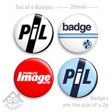 """PUBLIC IMAGE LIMITED Badges PIL Ltd Punk Vinyl Label-  1"""" Badge x4 Badges NEW"""